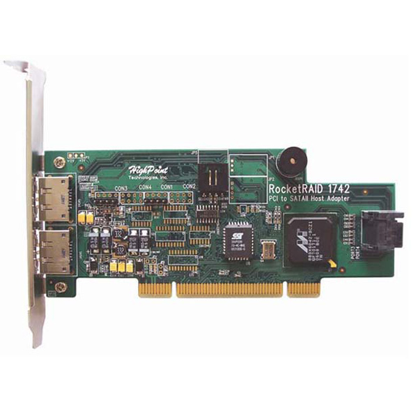 Контроллер HighPoint RocketRAID 1742 4 eSATA PORT SATA II PCI RAID 0,1,5, JBOD to 4 HDD + CABLES